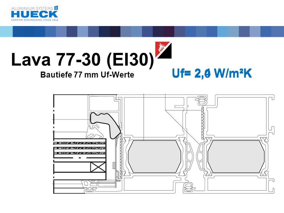 Lava 77-30 (EI30) Bautiefe 77 mm Uf-Werte Uf= 2,0 W/m²K Uf= 2,4 W/m²K