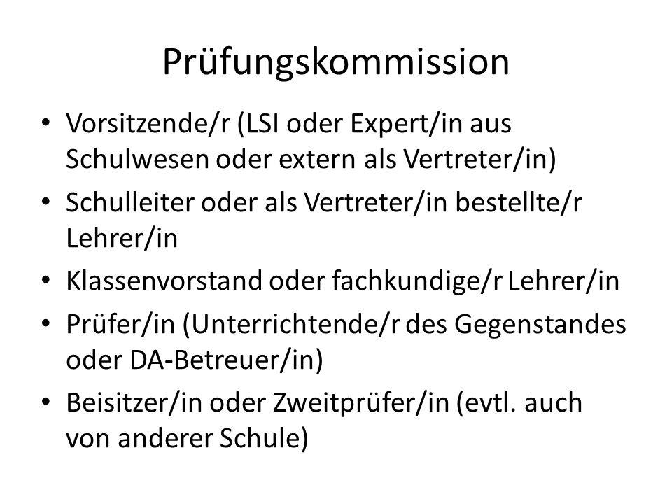 Prüfungskommission Vorsitzende/r (LSI oder Expert/in aus Schulwesen oder extern als Vertreter/in)