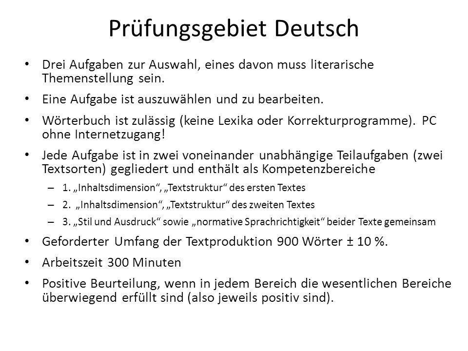 Prüfungsgebiet Deutsch