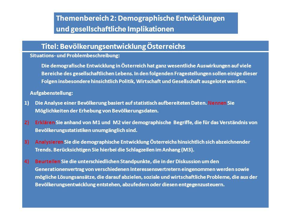 Titel: Bevölkerungsentwicklung Österreichs