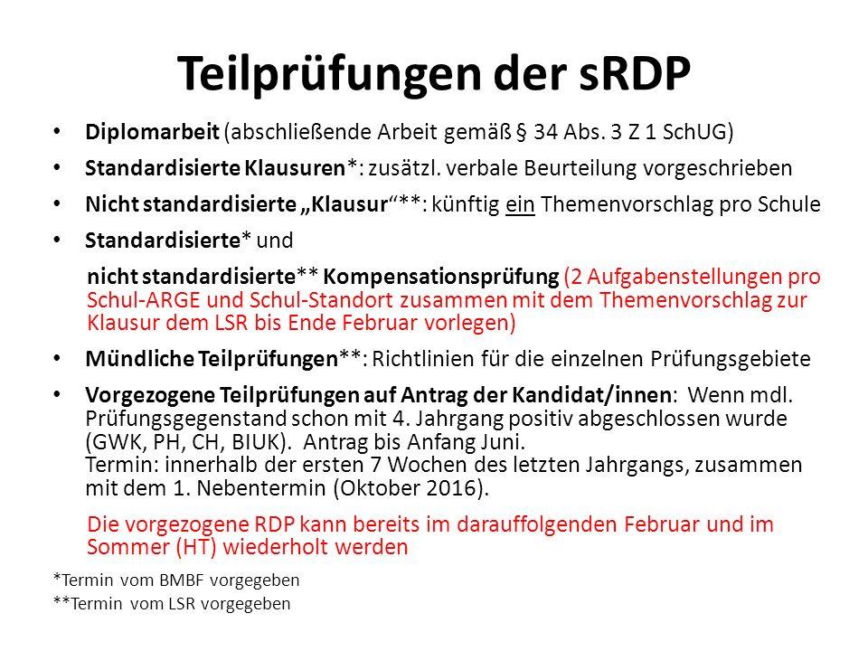 Teilprüfungen der sRDP