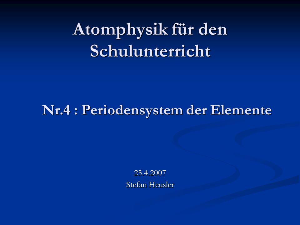 Atomphysik für den Schulunterricht