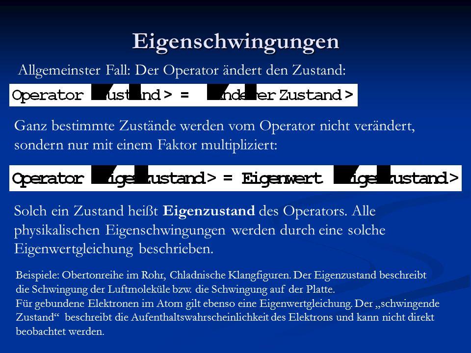 Eigenschwingungen Allgemeinster Fall: Der Operator ändert den Zustand:
