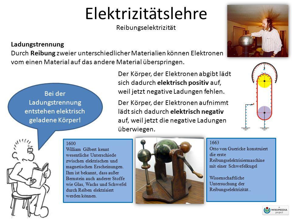 Elektrizitätslehre Reibungselektrizität Ladungstrennung