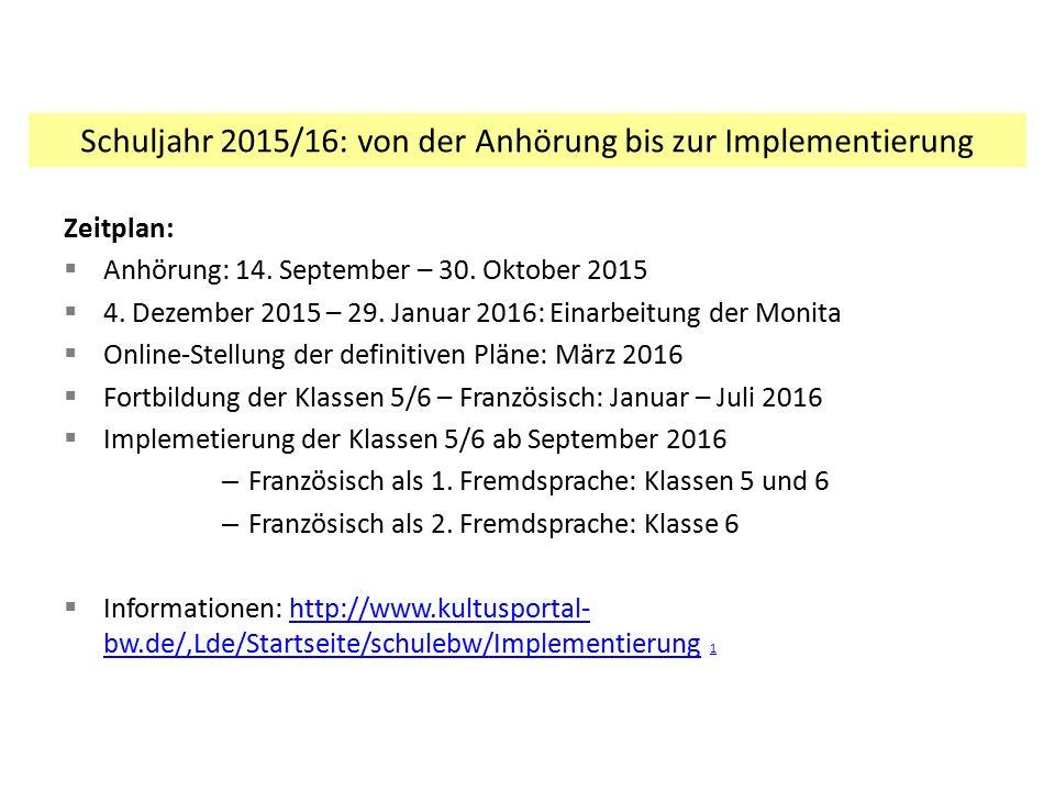Schuljahr 2015/16: von der Anhörung bis zur Implementierung