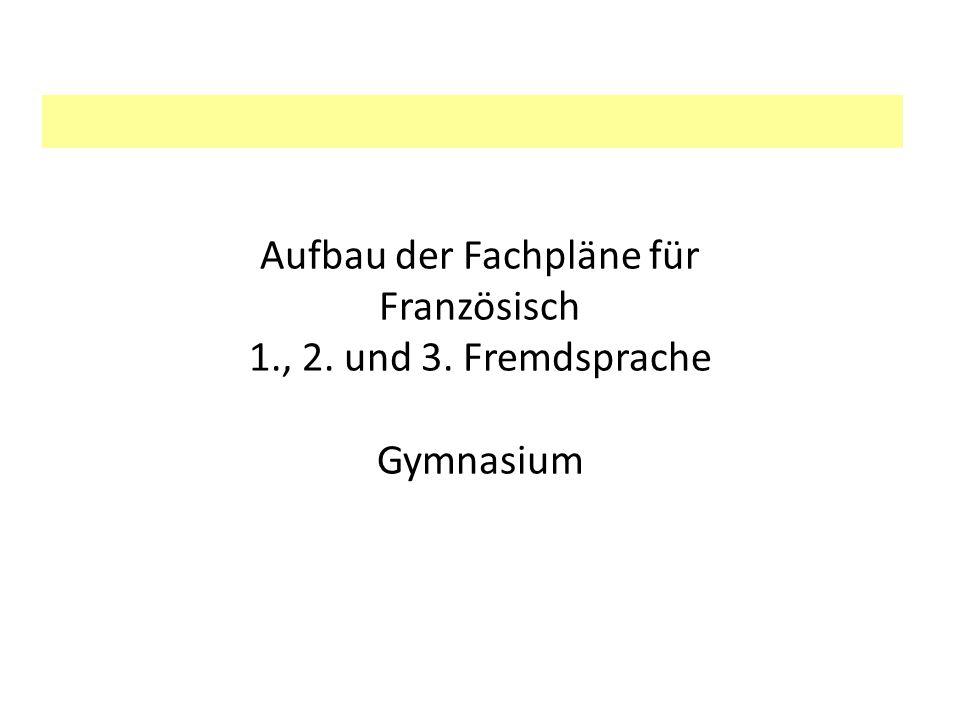 Aufbau der Fachpläne für Französisch 1. , 2. und 3