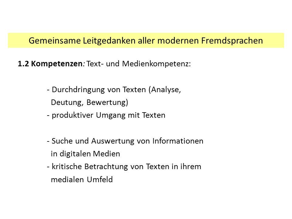 Gemeinsame Leitgedanken aller modernen Fremdsprachen