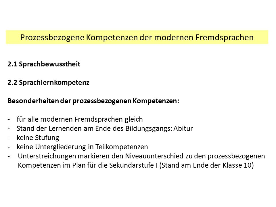 Prozessbezogene Kompetenzen der modernen Fremdsprachen