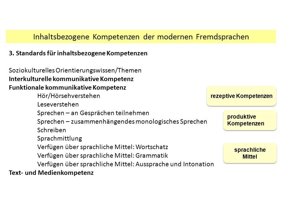 Inhaltsbezogene Kompetenzen der modernen Fremdsprachen