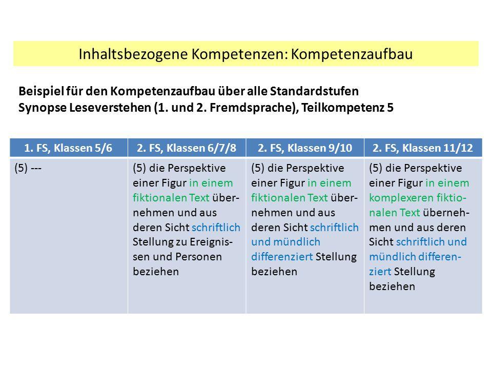 Inhaltsbezogene Kompetenzen: Kompetenzaufbau