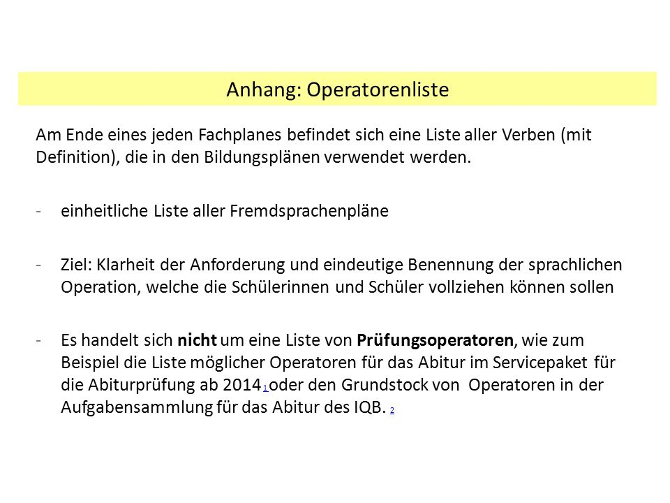 Anhang: Operatorenliste