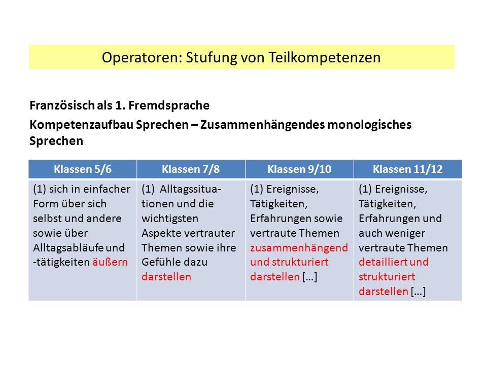 Operatoren: Stufung von Teilkompetenzen