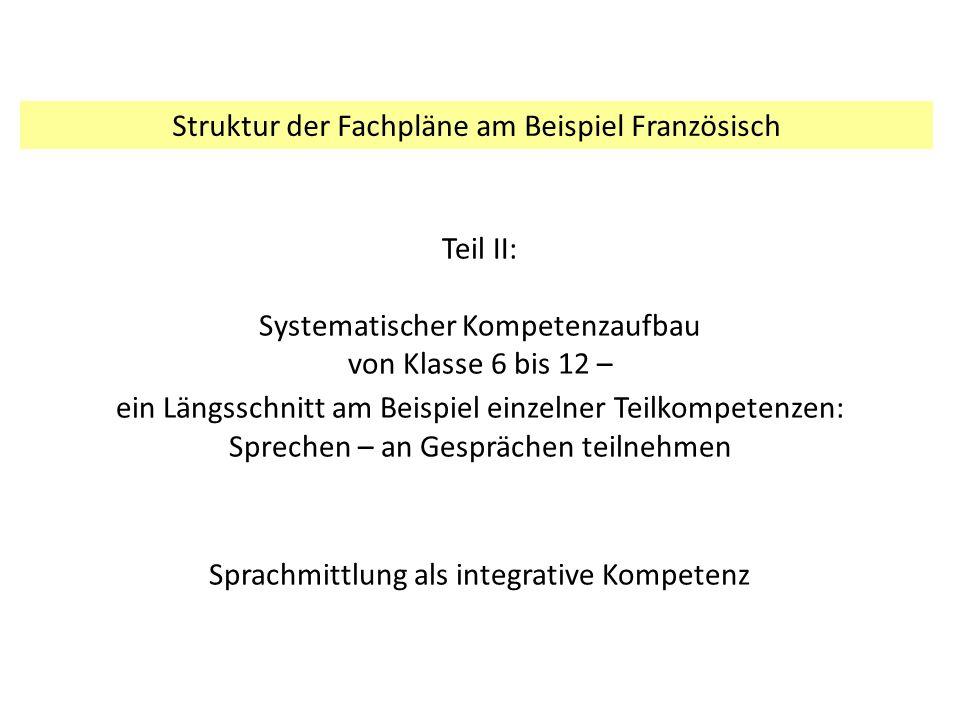 Struktur der Fachpläne am Beispiel Französisch