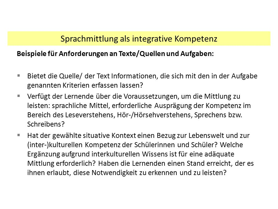 Sprachmittlung als integrative Kompetenz