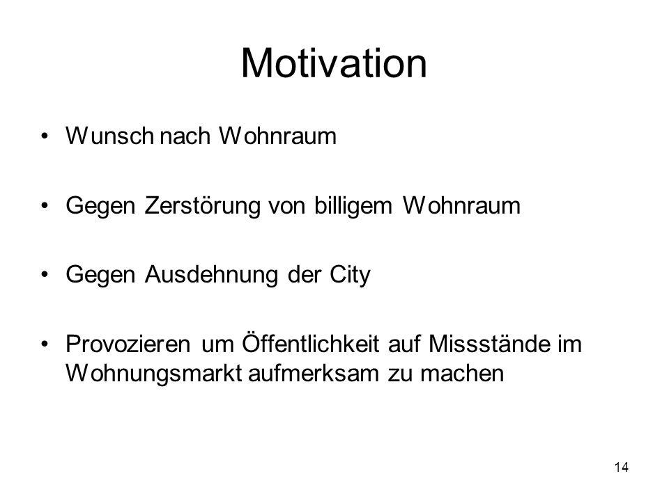 Motivation Wunsch nach Wohnraum Gegen Zerstörung von billigem Wohnraum