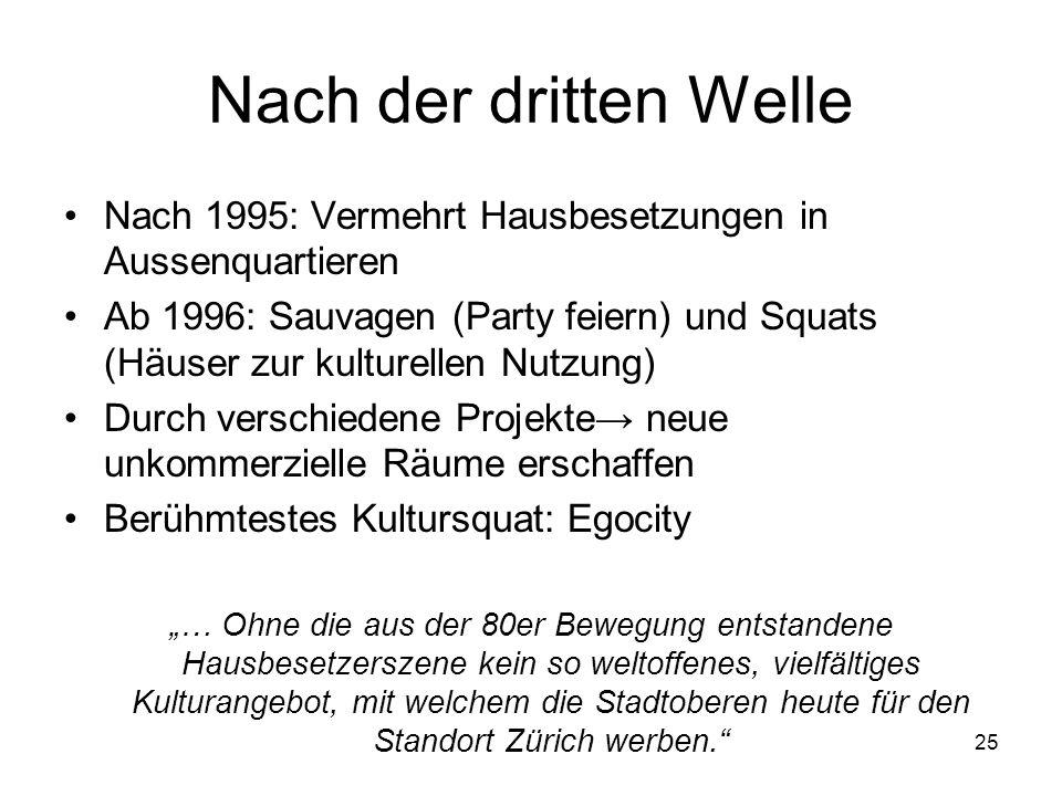 Nach der dritten Welle Nach 1995: Vermehrt Hausbesetzungen in Aussenquartieren.