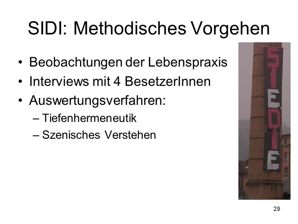 SIDI: Methodisches Vorgehen