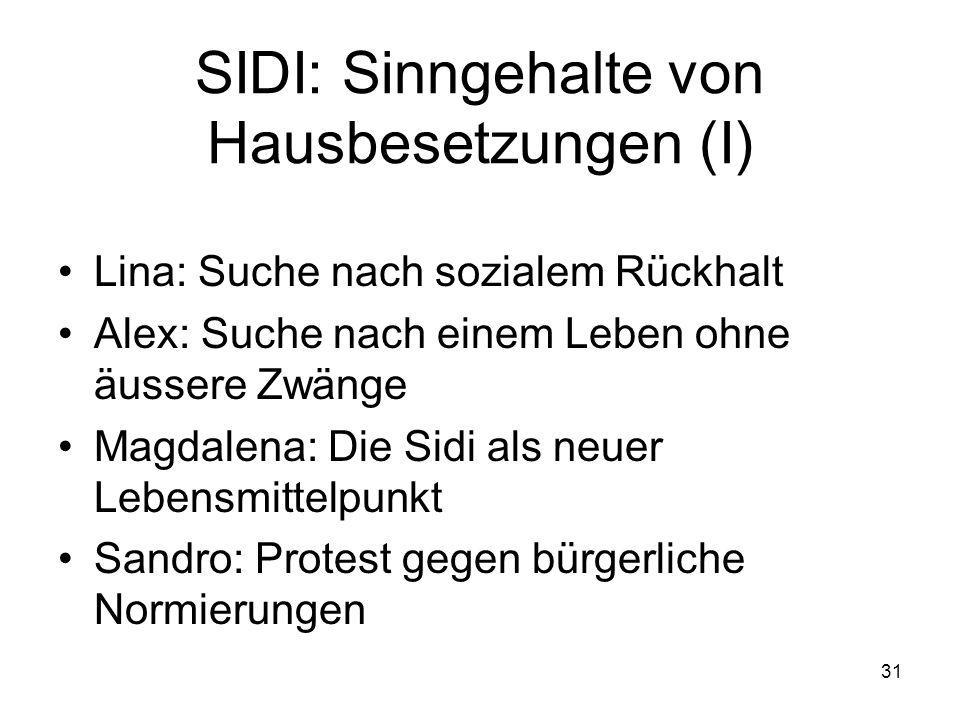 SIDI: Sinngehalte von Hausbesetzungen (I)
