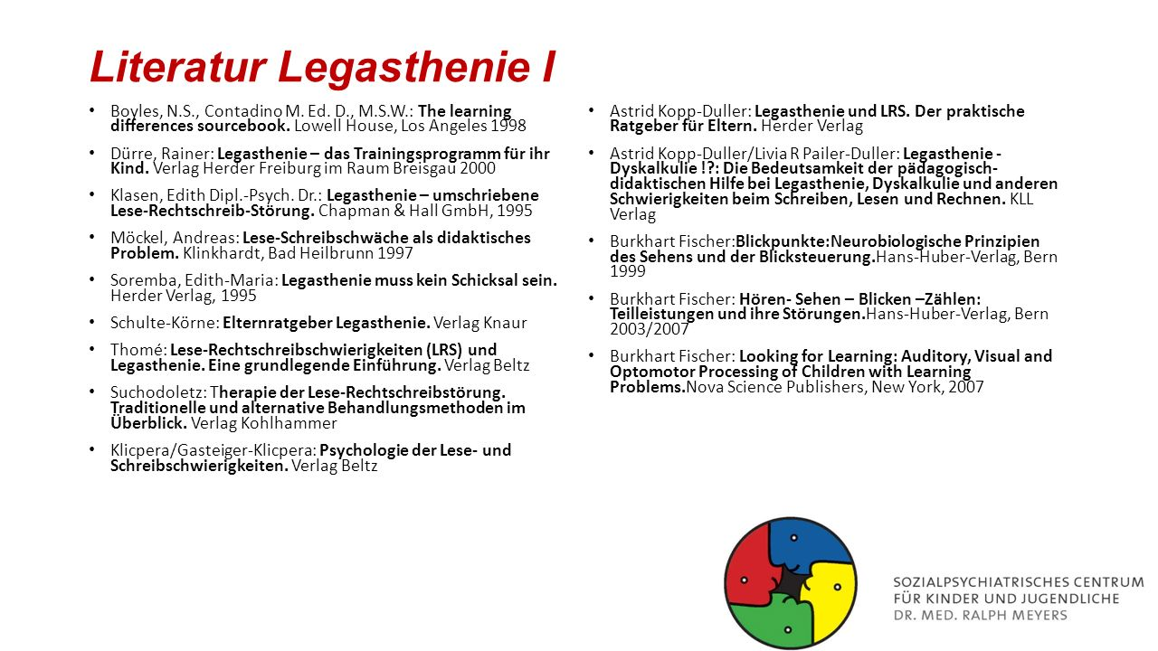 Literatur Legasthenie I
