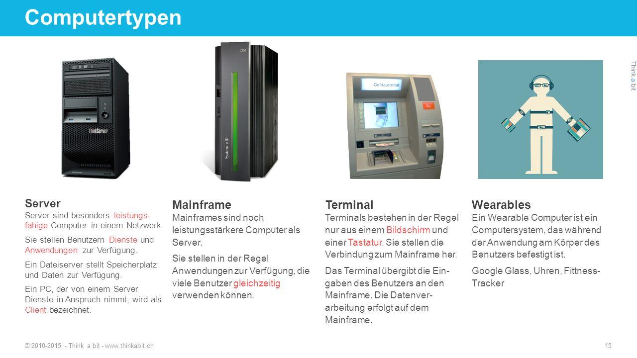 Computertypen Mainframe Terminal Wearables Server