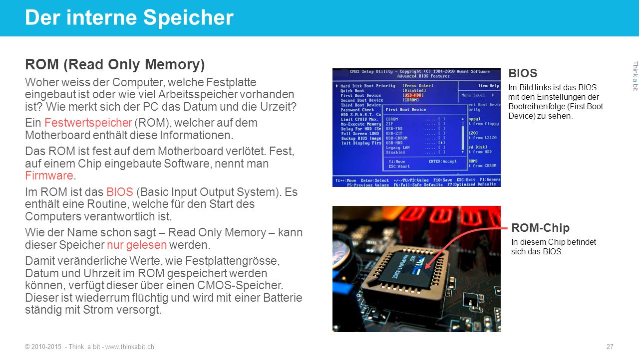 Der interne Speicher ROM (Read Only Memory) BIOS ROM-Chip