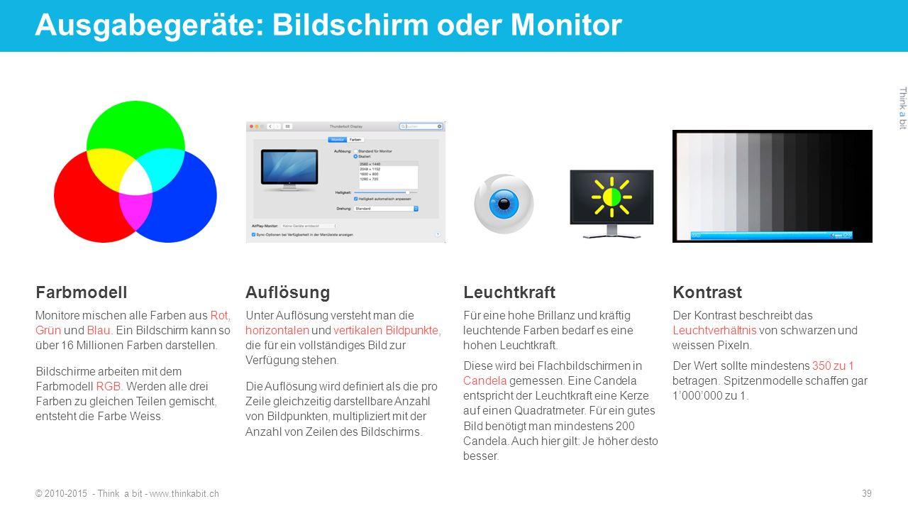 Ausgabegeräte: Bildschirm oder Monitor