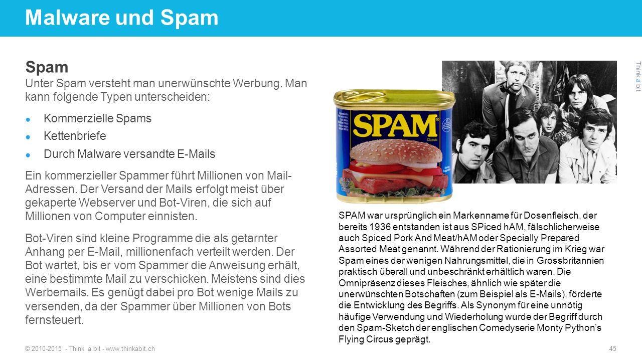Malware und Spam 27.04.2017. http://thinkabit.ch. Spam. Unter Spam versteht man unerwünschte Werbung. Man kann folgende Typen unterscheiden: