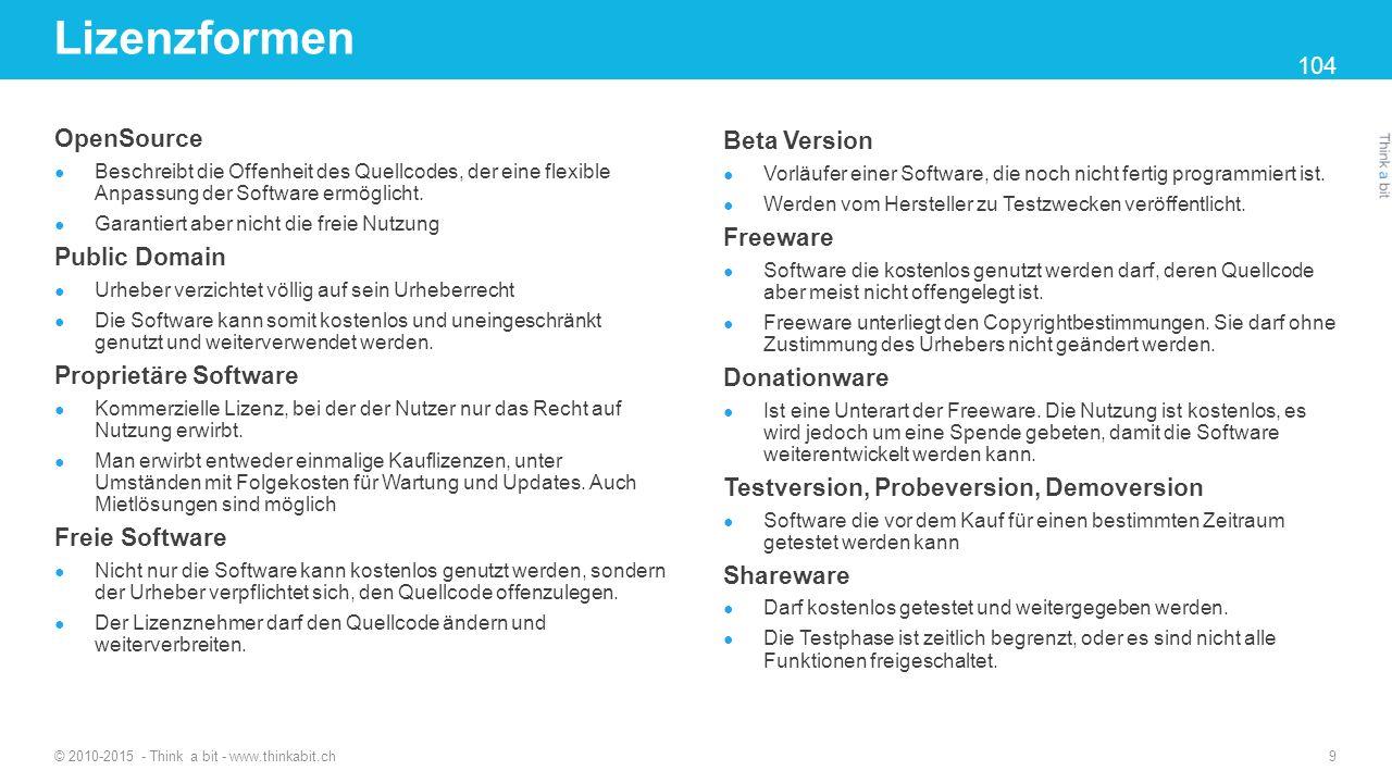 Lizenzformen OpenSource Beta Version Public Domain Freeware