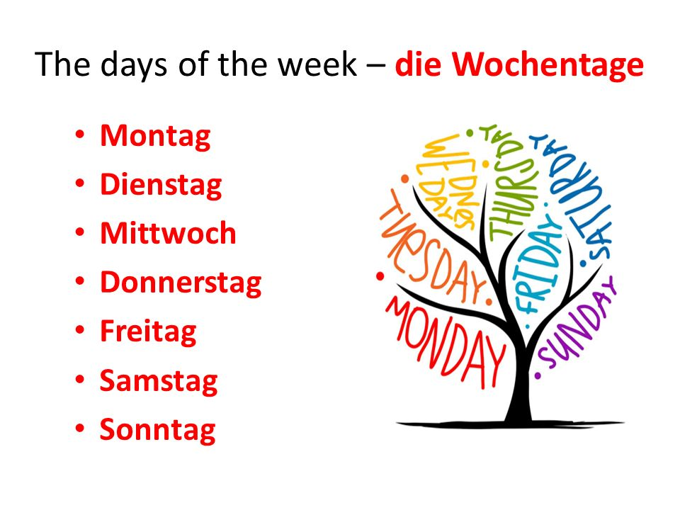 The days of the week – die Wochentage