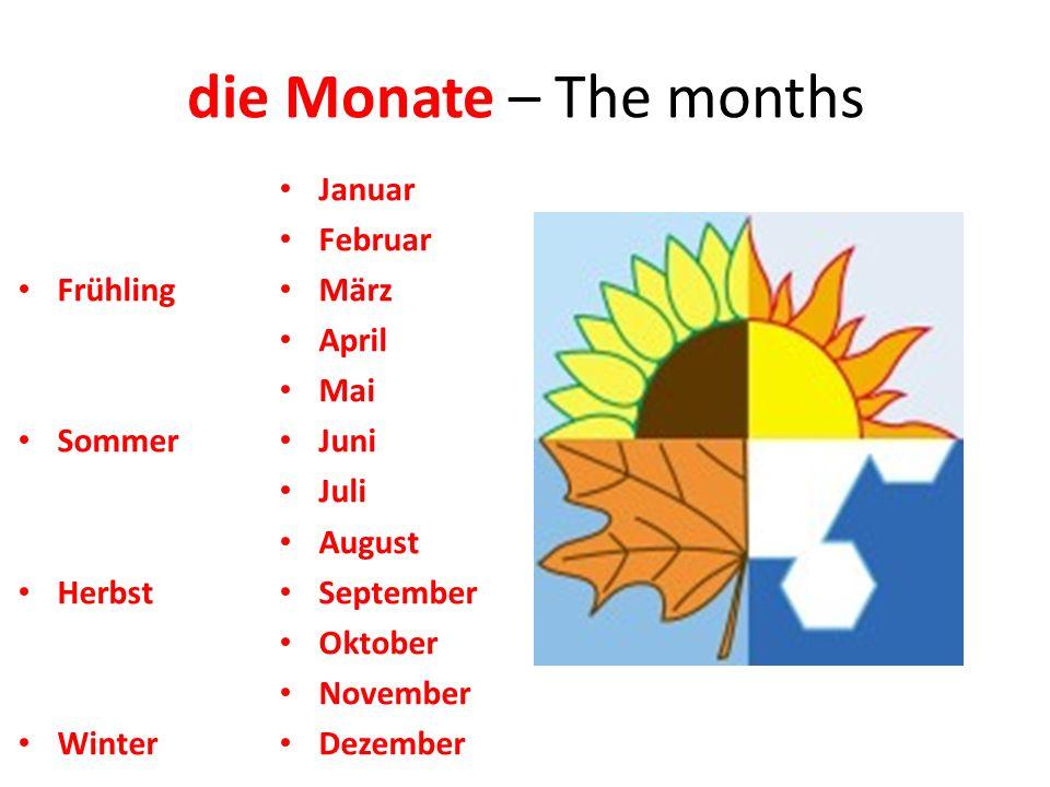 die Monate – The months Frühling Sommer Herbst Winter Januar Februar