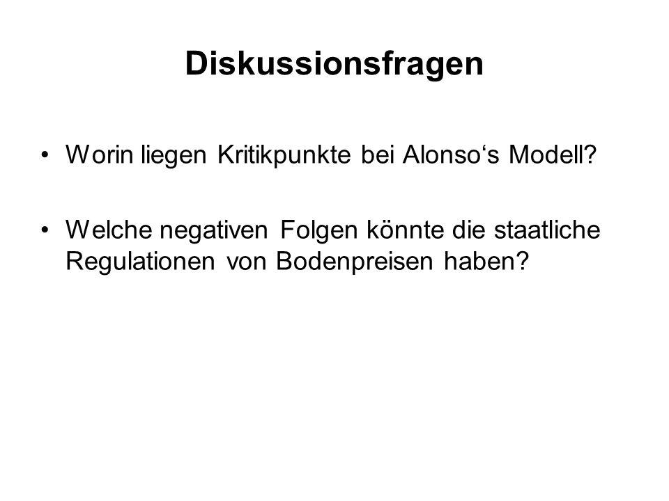 Diskussionsfragen Worin liegen Kritikpunkte bei Alonso's Modell