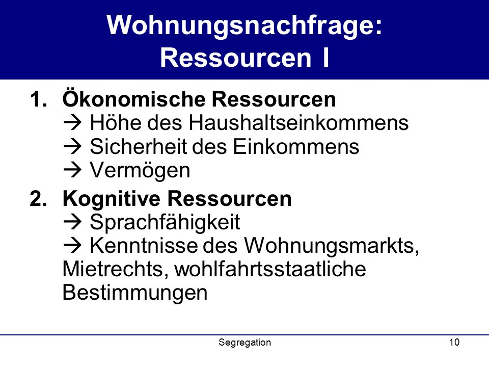 Wohnungsnachfrage: Ressourcen I