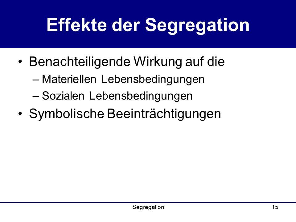 Effekte der Segregation