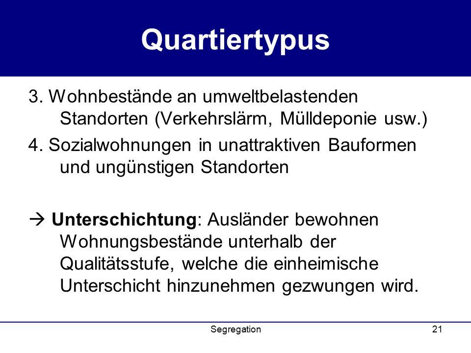 Quartiertypus 3. Wohnbestände an umweltbelastenden Standorten (Verkehrslärm, Mülldeponie usw.)