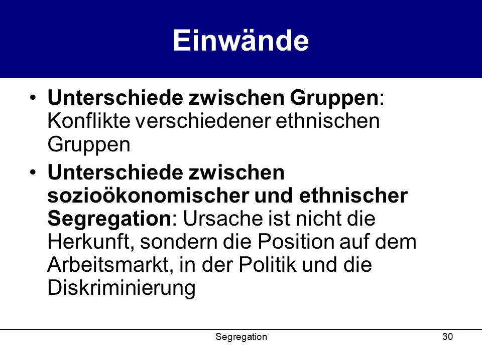 Einwände Unterschiede zwischen Gruppen: Konflikte verschiedener ethnischen Gruppen.
