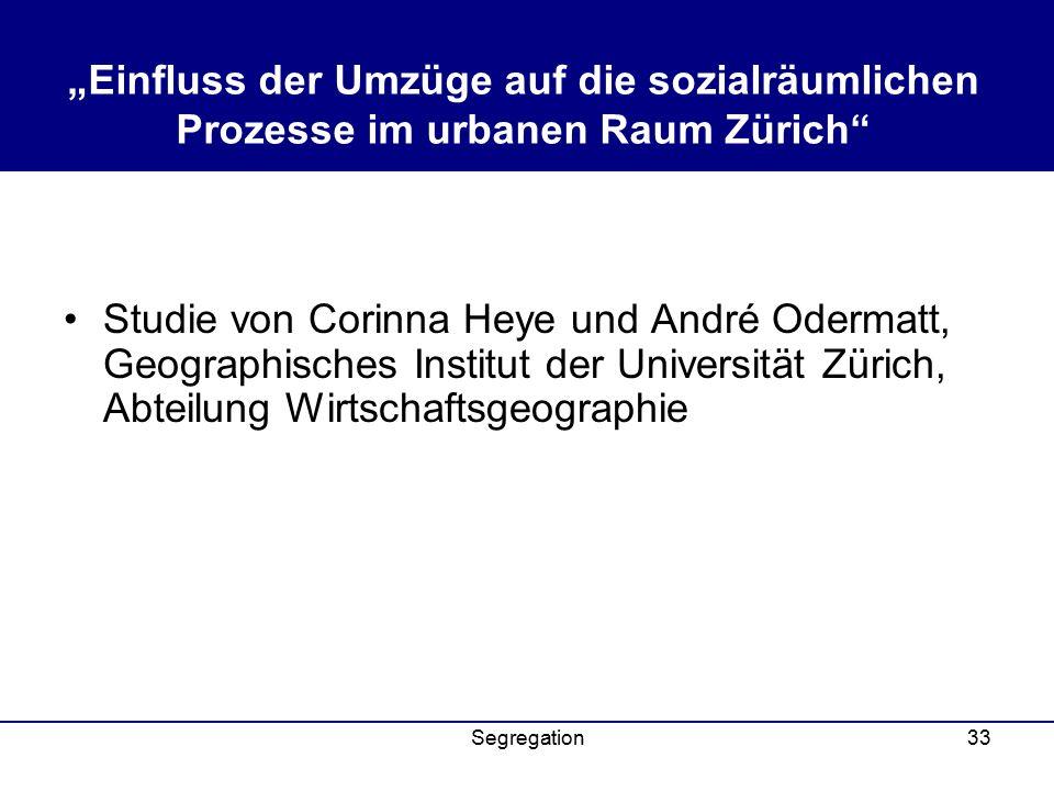 """""""Einfluss der Umzüge auf die sozialräumlichen Prozesse im urbanen Raum Zürich"""