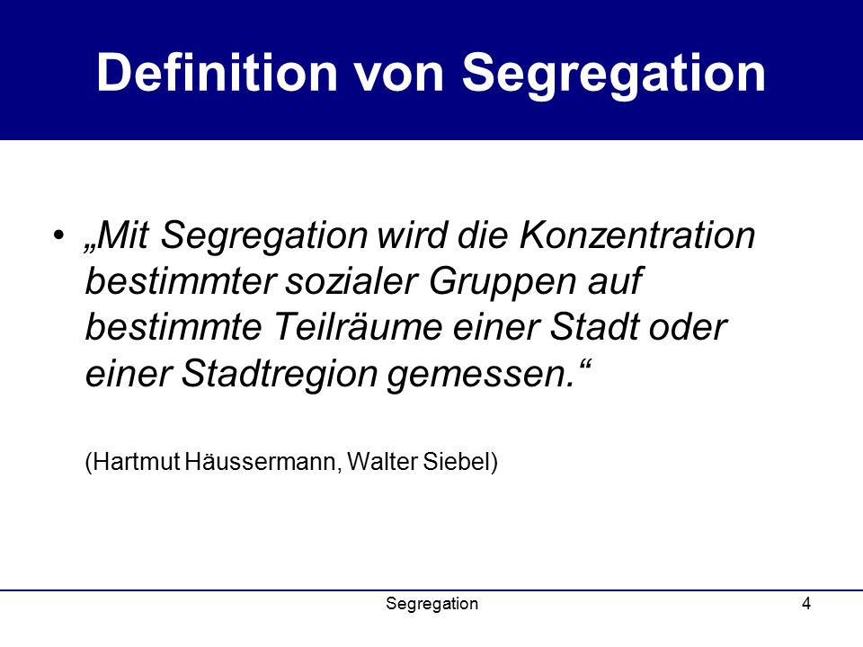 Definition von Segregation