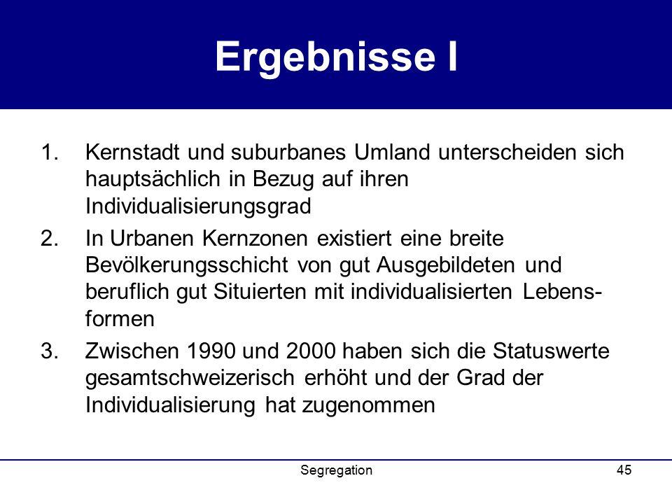 Ergebnisse I Kernstadt und suburbanes Umland unterscheiden sich hauptsächlich in Bezug auf ihren Individualisierungsgrad.