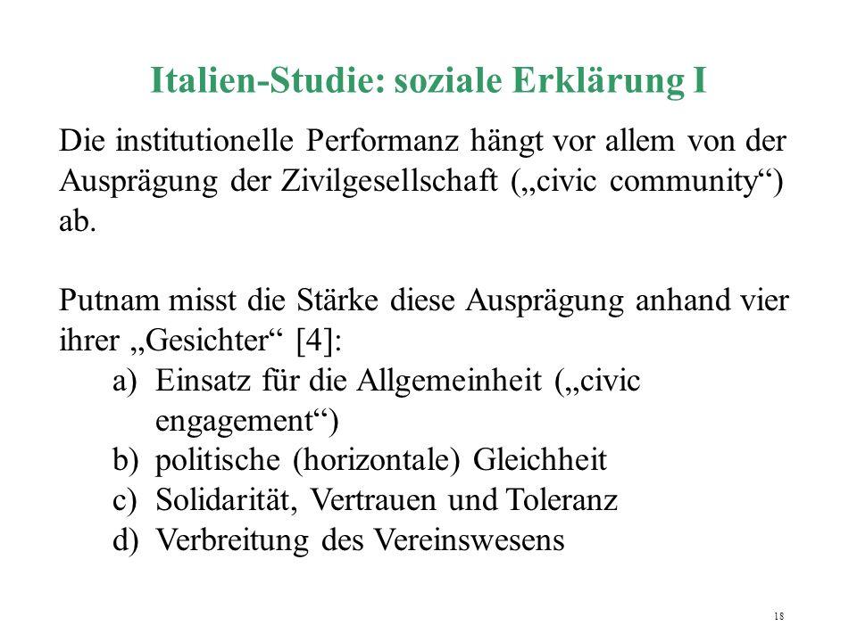 Italien-Studie: soziale Erklärung I