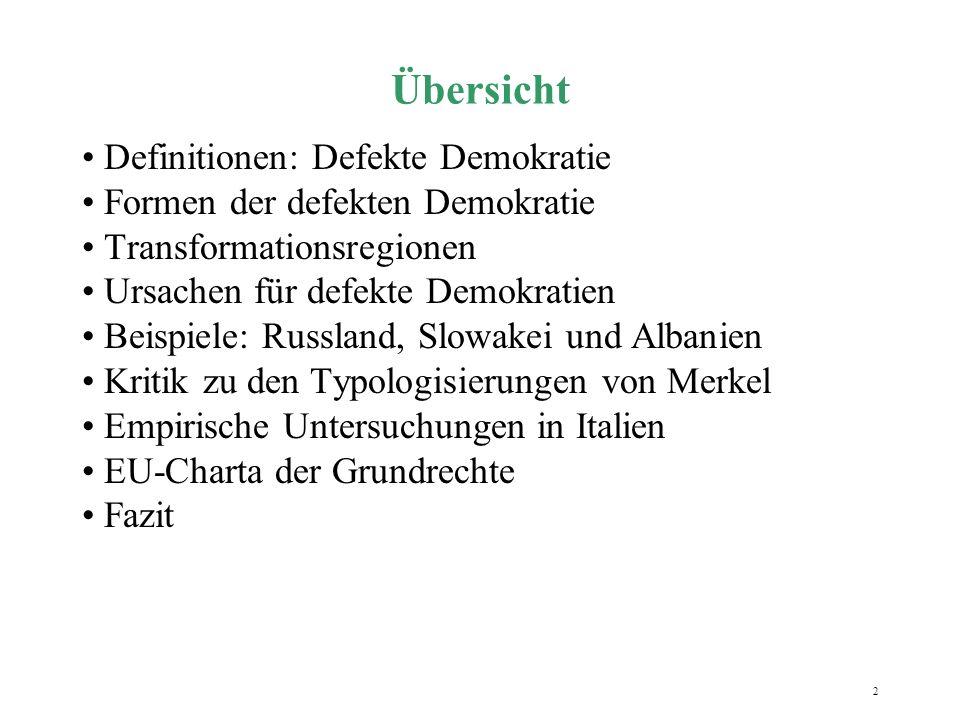 Übersicht Definitionen: Defekte Demokratie