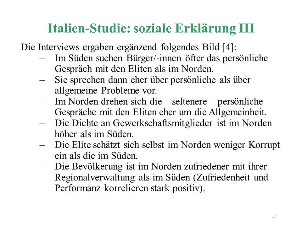 Italien-Studie: soziale Erklärung III