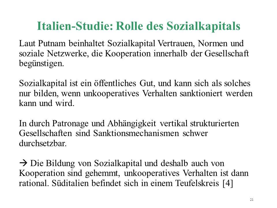 Italien-Studie: Rolle des Sozialkapitals