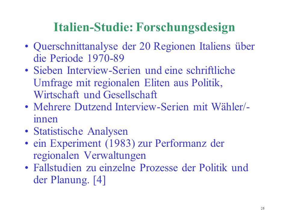 Italien-Studie: Forschungsdesign