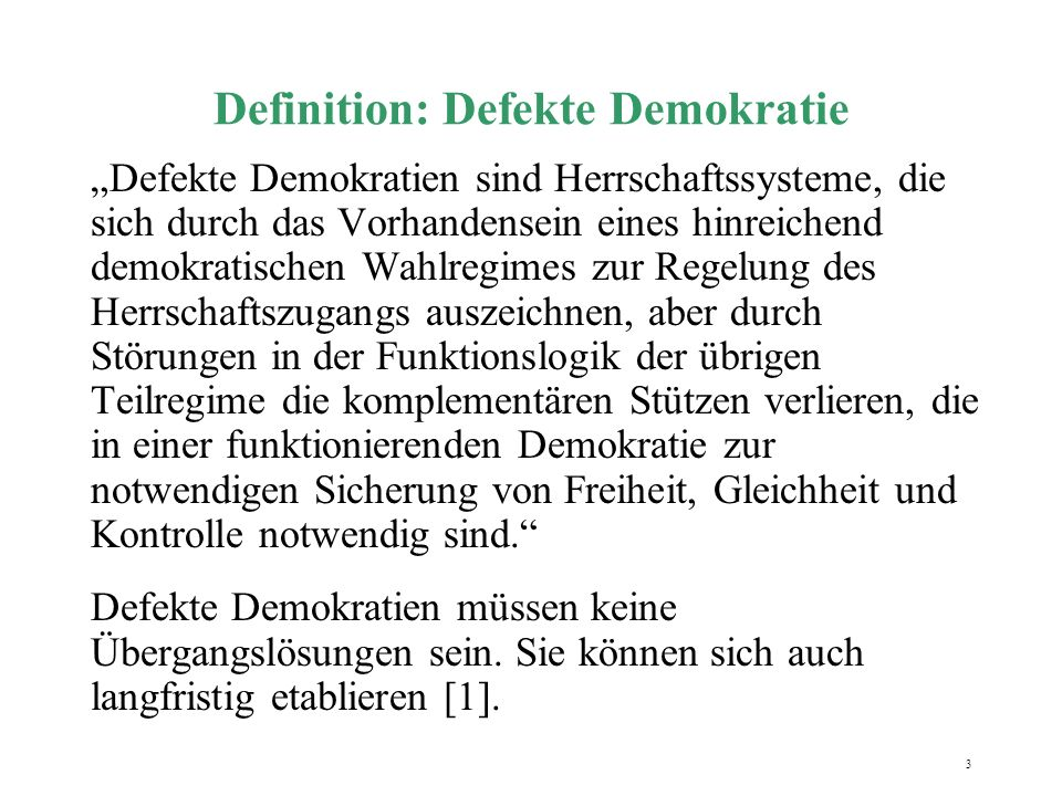 Definition: Defekte Demokratie