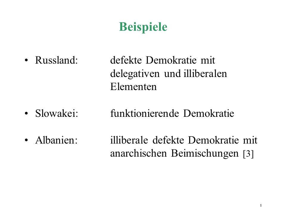 Beispiele Russland: defekte Demokratie mit delegativen und illiberalen Elementen. Slowakei: funktionierende Demokratie.