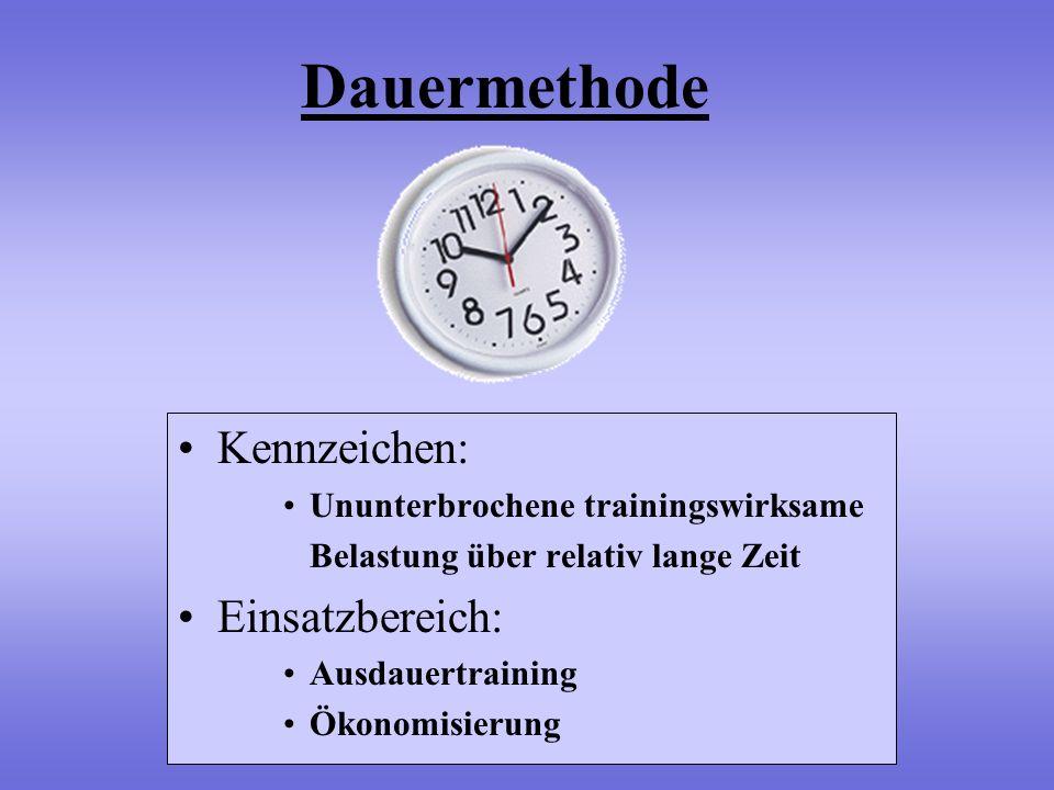 Dauermethode Kennzeichen: Einsatzbereich: