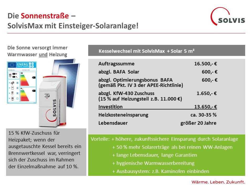 Die Sonnenstraße – SolvisMax mit Einsteiger-Solaranlage!