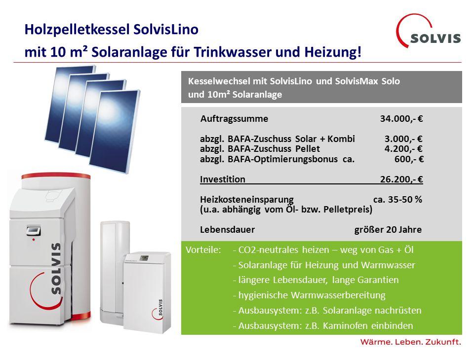 Holzpelletkessel SolvisLino mit 10 m² Solaranlage für Trinkwasser und Heizung!