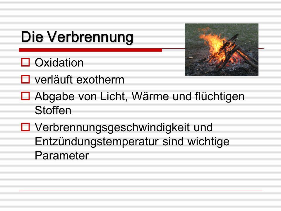 Die Verbrennung Oxidation verläuft exotherm
