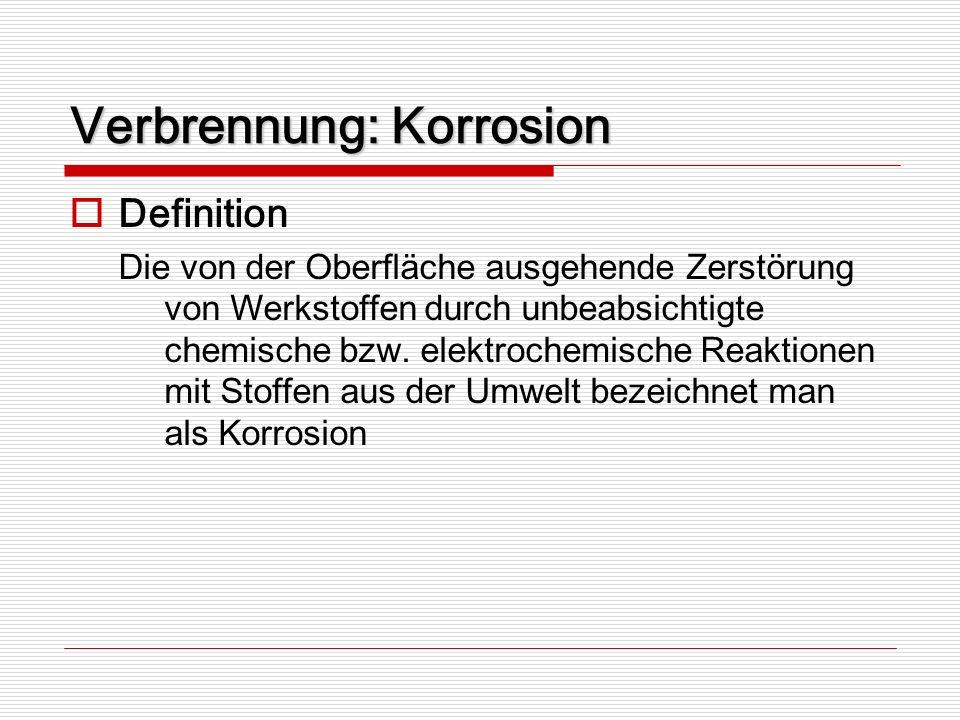 Verbrennung: Korrosion